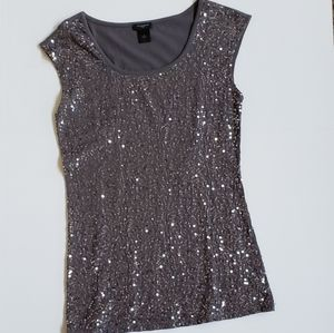 Sequined Ann Taylor cap sleeved top